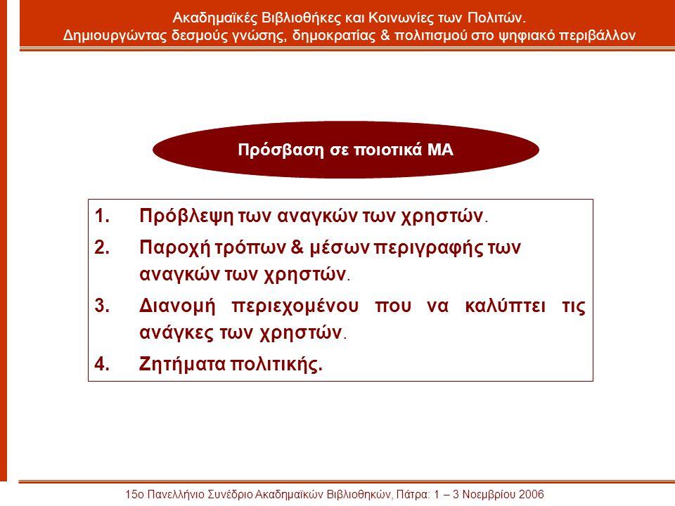 15ο Πανελλήνιο Συνέδριο Ακαδημαϊκών Βιβλιοθηκών, Πάτρα: 1 – 3 Νοεμβρίου 2006 Πρόσβαση σε ποιοτικά ΜΑ Ακαδημαϊκές Βιβλιοθήκες και Κοινωνίες των Πολιτών.