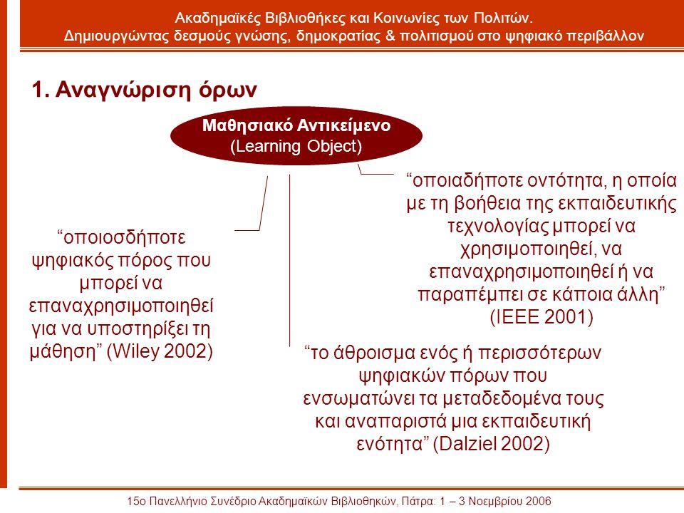 15ο Πανελλήνιο Συνέδριο Ακαδημαϊκών Βιβλιοθηκών, Πάτρα: 1 – 3 Νοεμβρίου 2006 Μαθησιακό Αντικείμενο (Learning Object) 1.