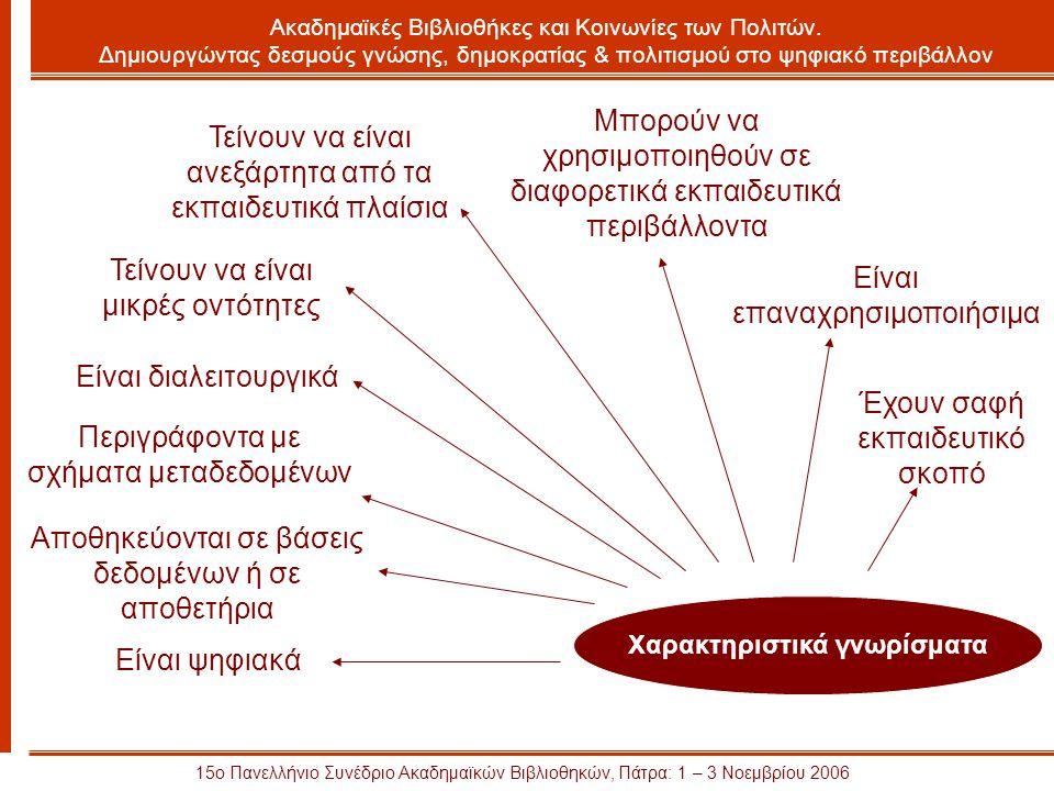 15ο Πανελλήνιο Συνέδριο Ακαδημαϊκών Βιβλιοθηκών, Πάτρα: 1 – 3 Νοεμβρίου 2006 Ακαδημαϊκές Βιβλιοθήκες και Κοινωνίες των Πολιτών.