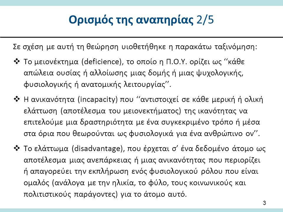 Ορισμός της αναπηρίας 2/5 Σε σχέση με αυτή τη θεώρηση υιοθετήθηκε η παρακάτω ταξινόμηση:  Το μειονέκτημα (deficience), το οποίο η Π.Ο.Υ.