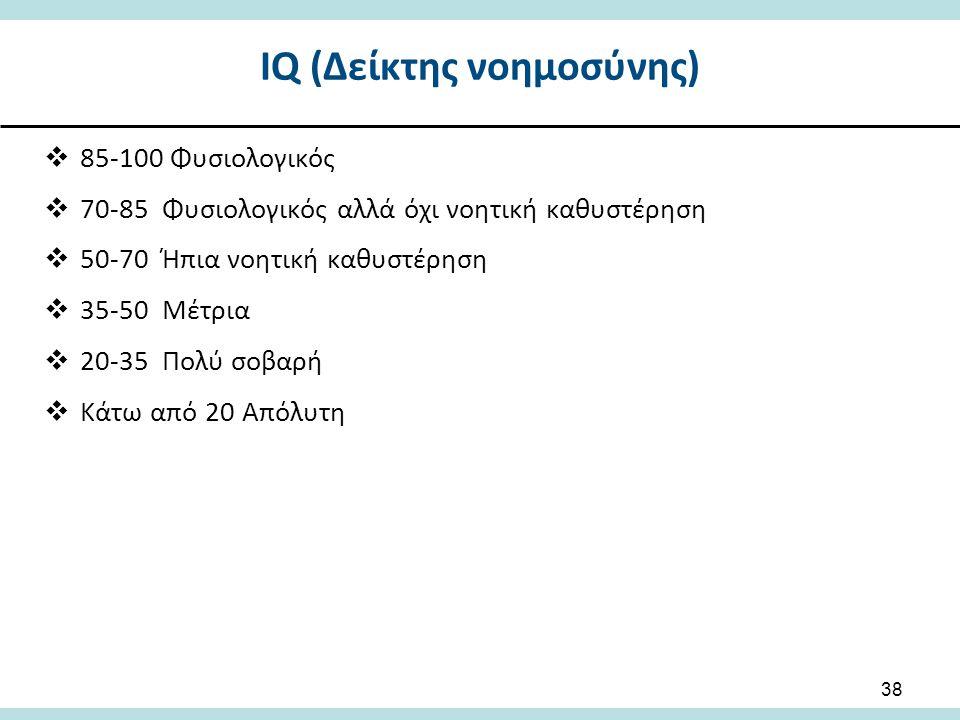 ΙQ (Δείκτης νοημοσύνης)  85-100 Φυσιολογικός  70-85 Φυσιολογικός αλλά όχι νοητική καθυστέρηση  50-70 Ήπια νοητική καθυστέρηση  35-50 Μέτρια  20-35 Πολύ σοβαρή  Κάτω από 20 Απόλυτη 38