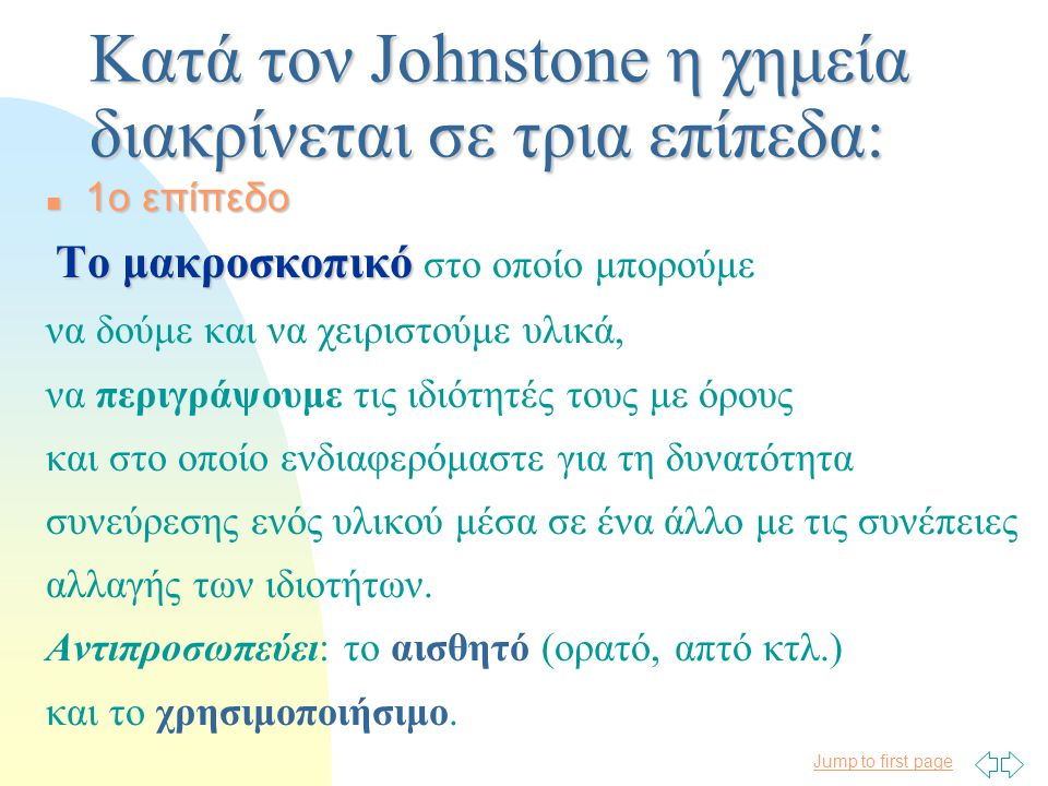 Jump to first page Οι θέσεις του A.H. JOHNSTONE για το μάθημα της Χημείας Αναστασία Α. Γεωργιάδου Δρ. Χημείας στο πεδίο της διδακτικής
