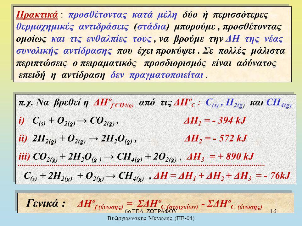 Πλήρης Καύση C ( σε CO 2 ) : C (s) + O 2(g) → CO 2(g), ΔH = - 394 kJ ( ένα στάδιο ) C (s) + ½O 2(g) → CO (g), ΔH 1 = - 110 kJ ( δύο στάδια ) ΔH = ΔH 1