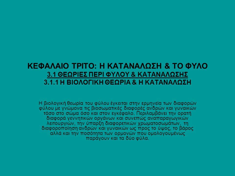 ΚΕΦΑΛΑΙΟ ΤΡΙΤΟ: Η ΚΑΤΑΝΑΛΩΣΗ & ΤΟ ΦΥΛΟ 3.1 ΘΕΩΡΙΕΣ ΠΕΡΙ ΦΥΛΟΥ & ΚΑΤΑΝΑΛΩΣΗΣ 3.1.1 Η ΒΙΟΛΟΓΙΚΗ ΘΕΩΡΙΑ & Η ΚΑΤΑΝΑΛΩΣΗ Η βιολογική θεωρία του φύλου έγκει