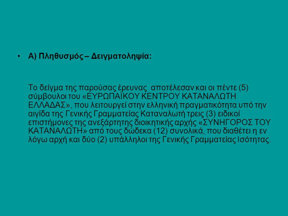 Α) Πληθυσμός – Δειγματοληψία: Το δείγμα της παρούσας έρευνας αποτέλεσαν και οι πέντε (5) σύμβουλοι του «ΕΥΡΩΠΑΪΚΟΥ ΚΕΝΤΡΟΥ ΚΑΤΑΝΑΛΩΤΗ ΕΛΛΑΔΑΣ», που λε