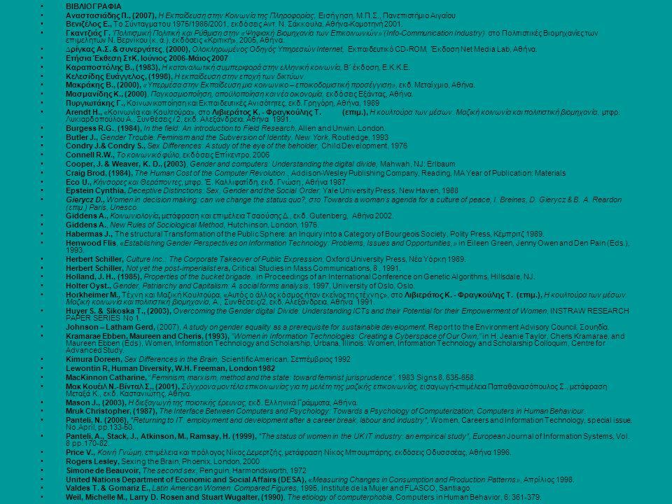 ΒΙΒΛΙΟΓΡΑΦΙΑ Αναστασιάδης Π., (2007), Η Εκπαίδευση στην Κοινωνία της Πληροφορίας, Εισήγηση, Μ.Π.Σ., Πανεπιστήμιο Αιγαίου Βενιζέλος Ε., Το Σύνταγμα του