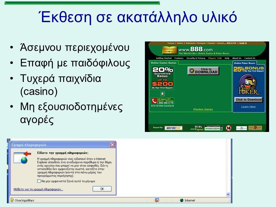 Έκθεση σε ακατάλληλο υλικό Άσεμνου περιεχομένου Επαφή με παιδόφιλους Τυχερά παιχνίδια (casino) Μη εξουσιοδοτημένες αγορές