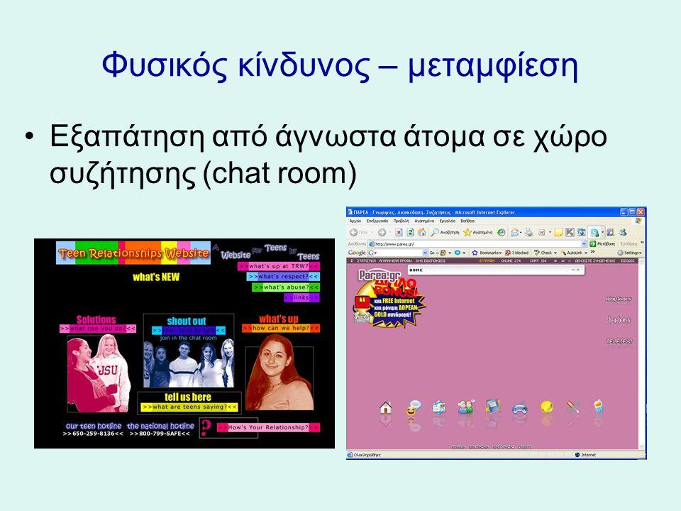 Φυσικός κίνδυνος – μεταμφίεση Εξαπάτηση από άγνωστα άτομα σε χώρο συζήτησης (chat room)