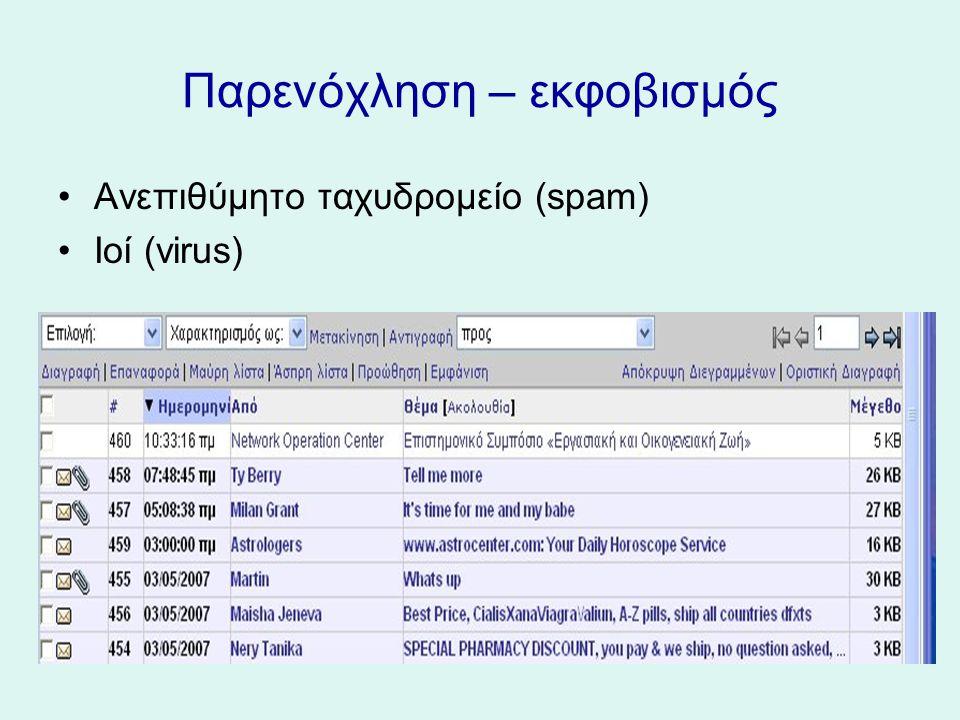 Παρενόχληση – εκφοβισμός Ανεπιθύμητο ταχυδρομείο (spam) Ιοί (virus)