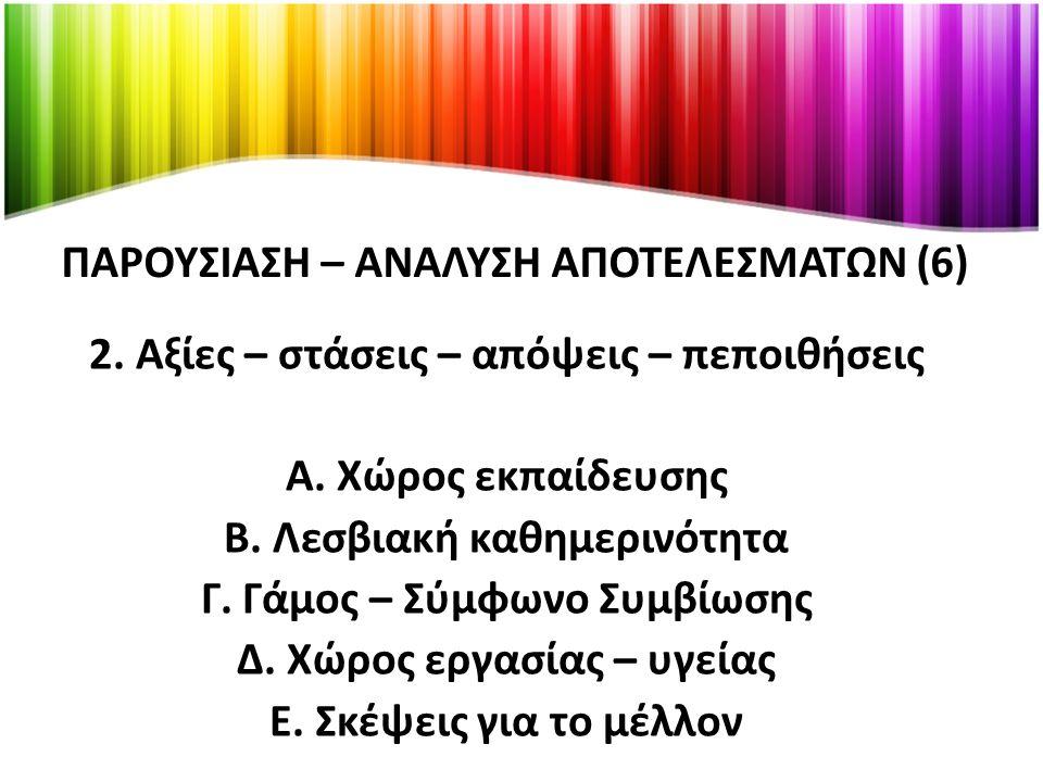 ΠΑΡΟΥΣΙΑΣΗ – ΑΝΑΛΥΣΗ ΑΠΟΤΕΛΕΣΜΑΤΩΝ (6) 2.Αξίες – στάσεις – απόψεις – πεποιθήσεις Α.