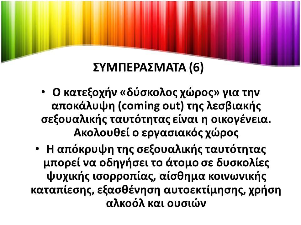 ΣΥΜΠΕΡΑΣΜΑΤΑ (6) Ο κατεξοχήν «δύσκολος χώρος» για την αποκάλυψη (coming out) της λεσβιακής σεξουαλικής ταυτότητας είναι η οικογένεια.