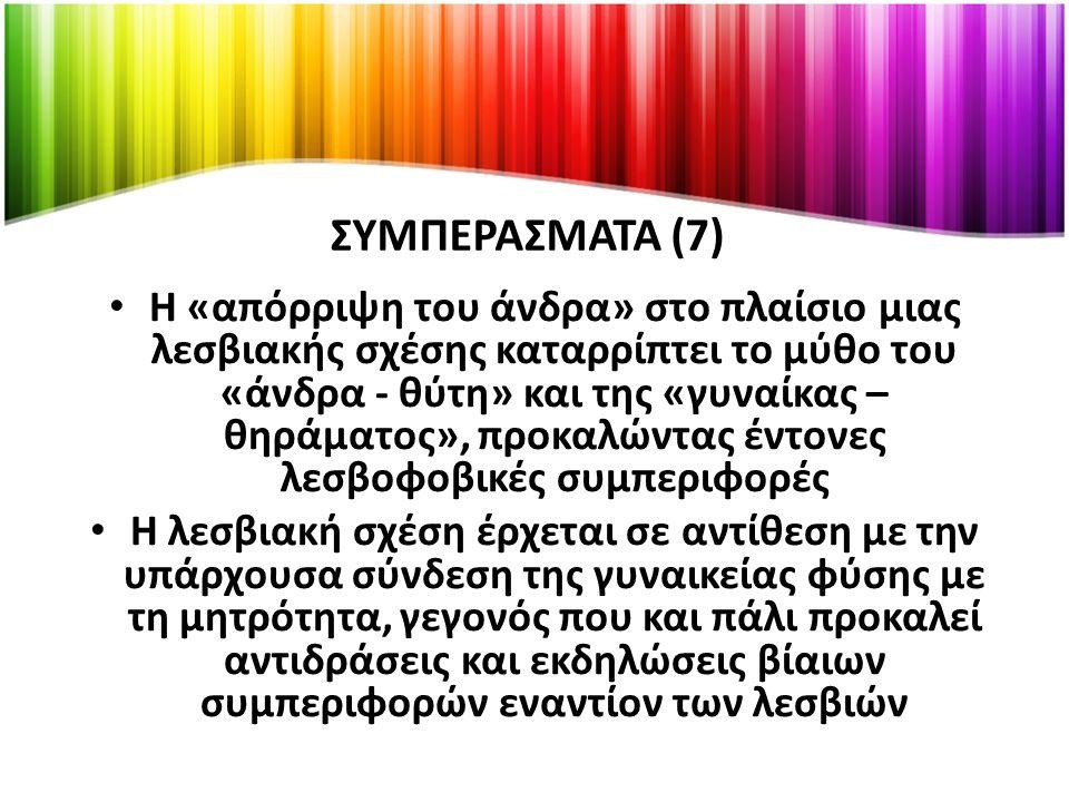 ΣΥΜΠΕΡΑΣΜΑΤΑ (8) Οι ομοφοβική και η λεσβοφοβική στάση εμφανίζεται και στα ίδια τα ομόφυλα άτομα (εσωτερικευμένη ομοφοβία) Τα λεσβιακά μπαρ επιλέγονται από τις λεσβίες ως χώρος διασκέδασης και κοινωνικής δικτύωσης, ως «καταφύγιο προστατευμένο και ταυτόχρονα προστατευτικό»