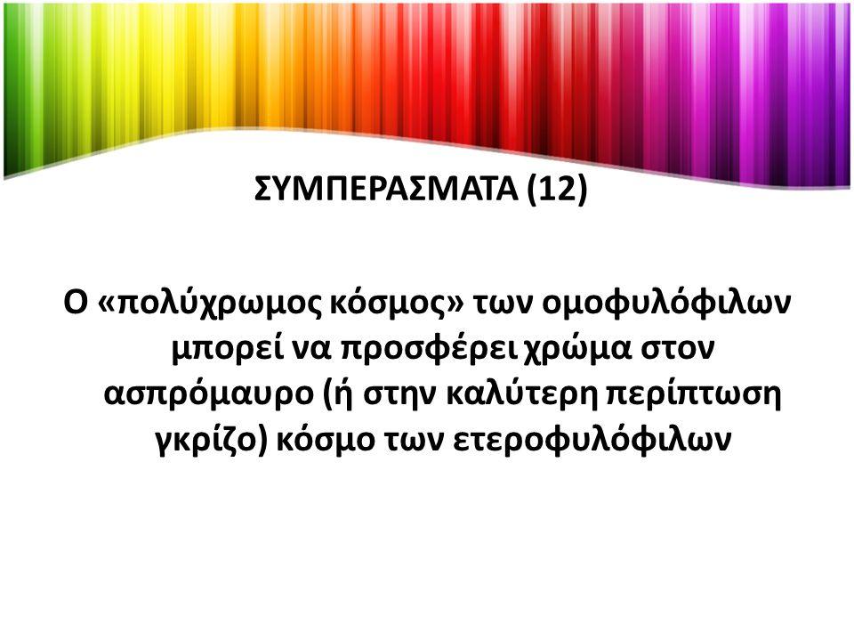 ΣΥΜΠΕΡΑΣΜΑΤΑ (12) Ο «πολύχρωμος κόσμος» των ομοφυλόφιλων μπορεί να προσφέρει χρώμα στον ασπρόμαυρο (ή στην καλύτερη περίπτωση γκρίζο) κόσμο των ετεροφυλόφιλων