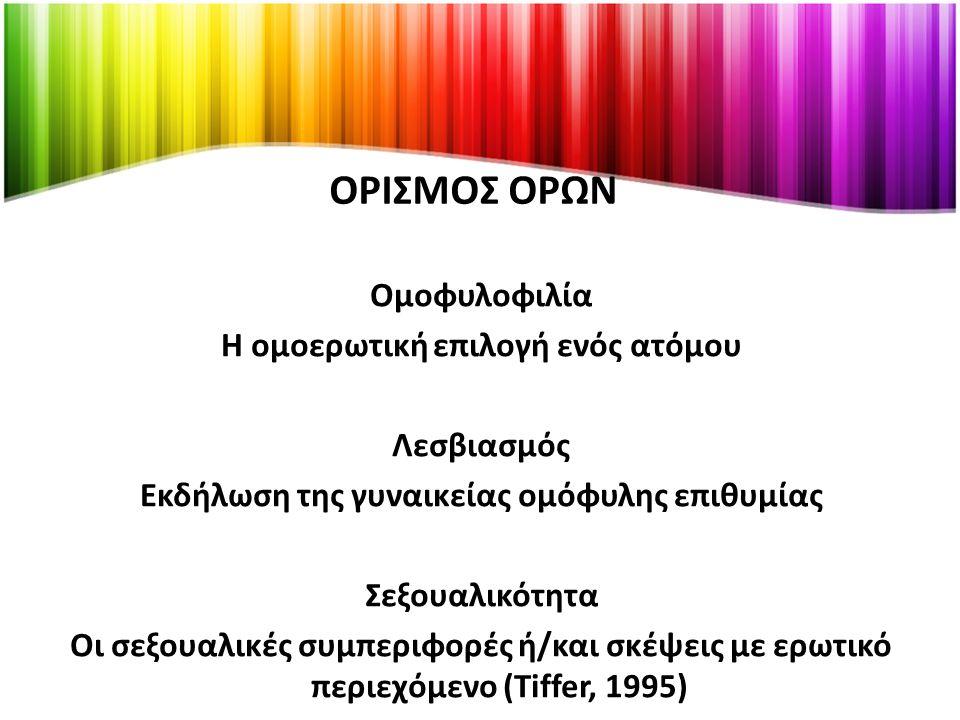 ΟΡΙΣΜΟΣ ΟΡΩΝ Ομοφυλοφιλία Η ομοερωτική επιλογή ενός ατόμου Λεσβιασμός Εκδήλωση της γυναικείας ομόφυλης επιθυμίας Σεξουαλικότητα Οι σεξουαλικές συμπεριφορές ή/και σκέψεις με ερωτικό περιεχόμενο (Tiffer, 1995)