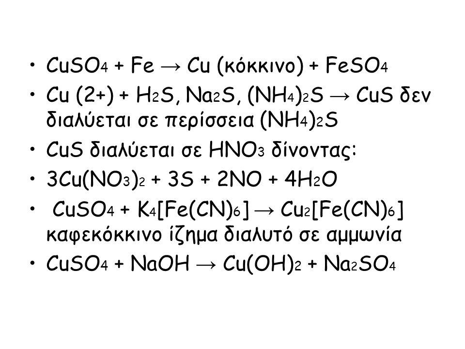 CuSO 4 + Fe → Cu (κόκκινο) + FeSO 4 Cu (2+) + H 2 S, Na 2 S, (NH 4 ) 2 S → CuS δεν διαλύεται σε περίσσεια (NH 4 ) 2 S CuS διαλύεται σε HNO 3 δίνοντας: