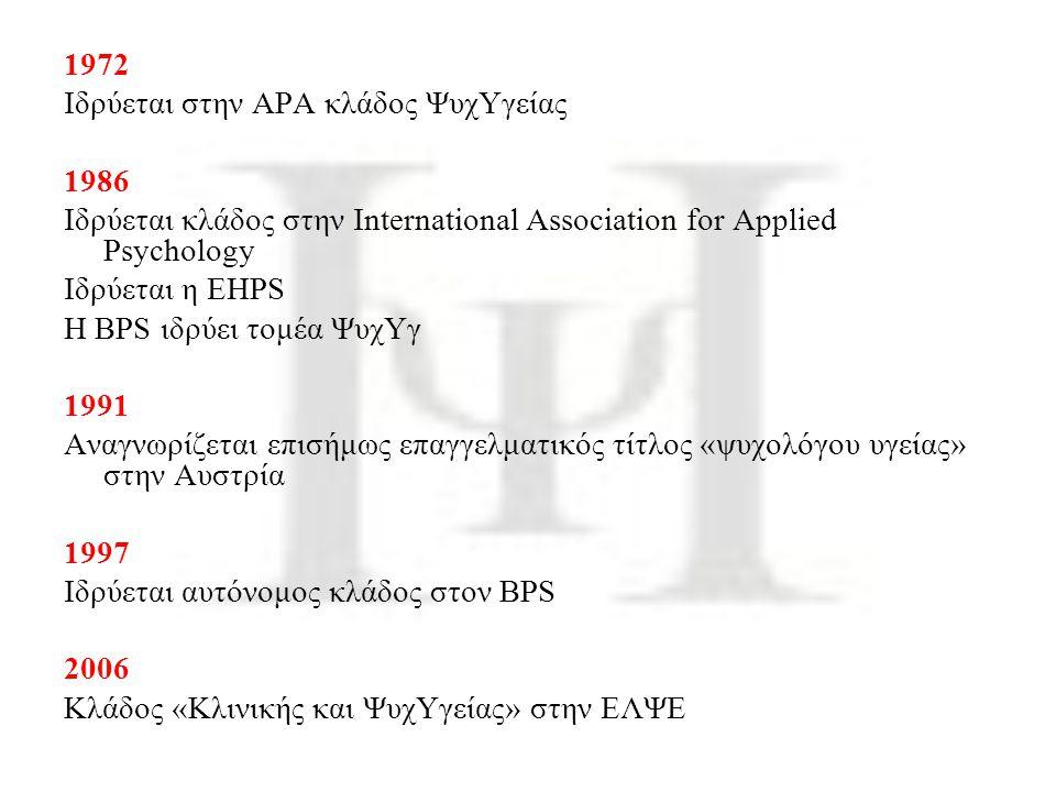 1972 Ιδρύεται στην ΑΡΑ κλάδος ΨυχΥγείας 1986 Ιδρύεται κλάδος στην International Association for Applied Psychology Ιδρύεται η EHPS H BPS ιδρύει τομέα