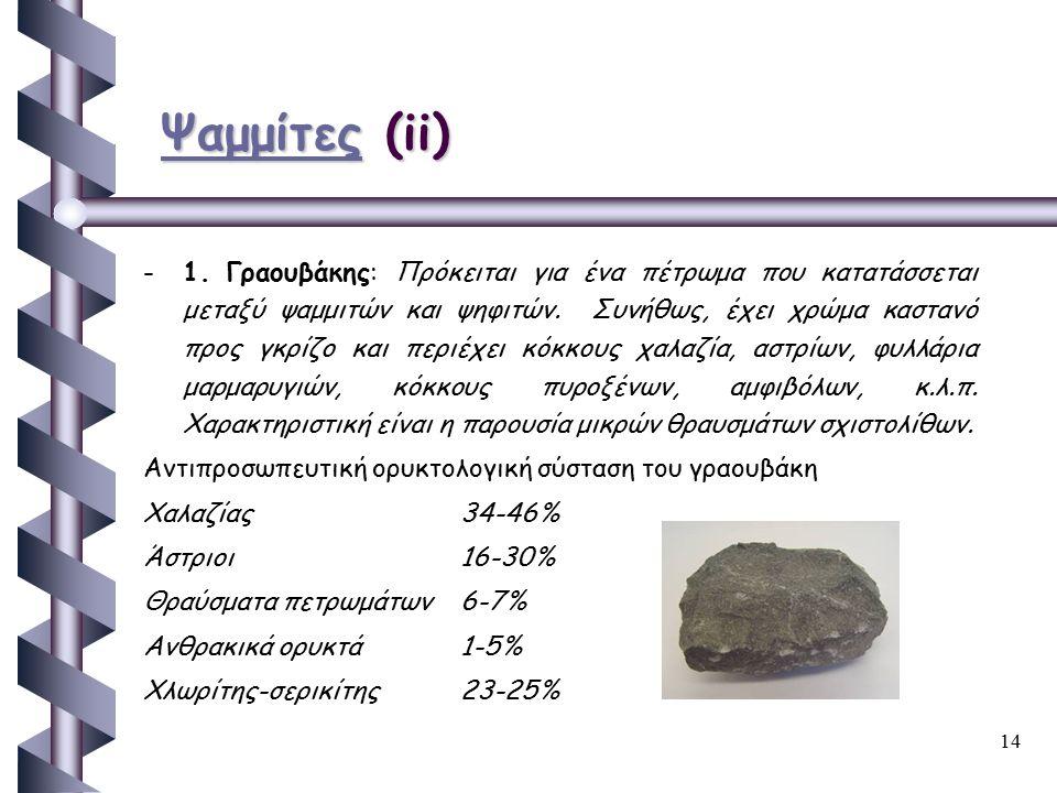 14 ΨαμμίτεςΨαμμίτες (ii) Ψαμμίτες - -1. Γραουβάκης: Πρόκειται για ένα πέτρωμα που κατατάσσεται μεταξύ ψαμμιτών και ψηφιτών. Συνήθως, έχει χρώμα κασταν
