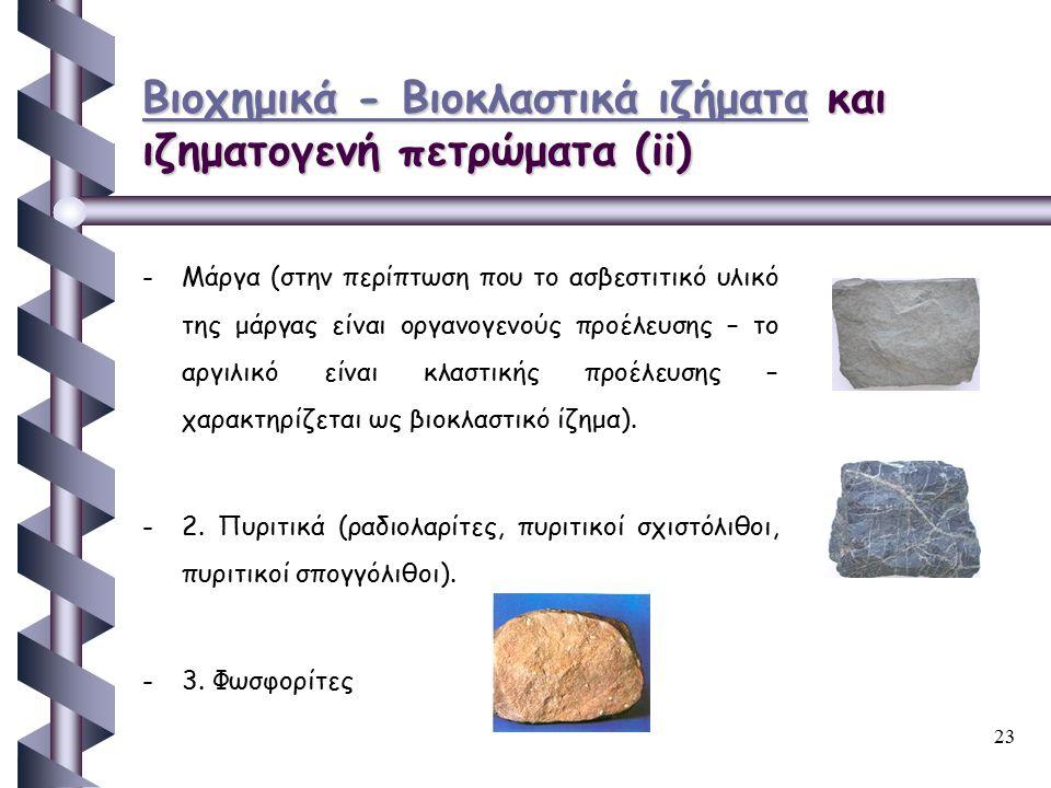 23 Βιοχημικά - Βιοκλαστικά ιζήματαΒιοχημικά - Βιοκλαστικά ιζήματα και ιζηματογενή πετρώματα (ii) Βιοχημικά - Βιοκλαστικά ιζήματα - -Μάργα (στην περίπτ