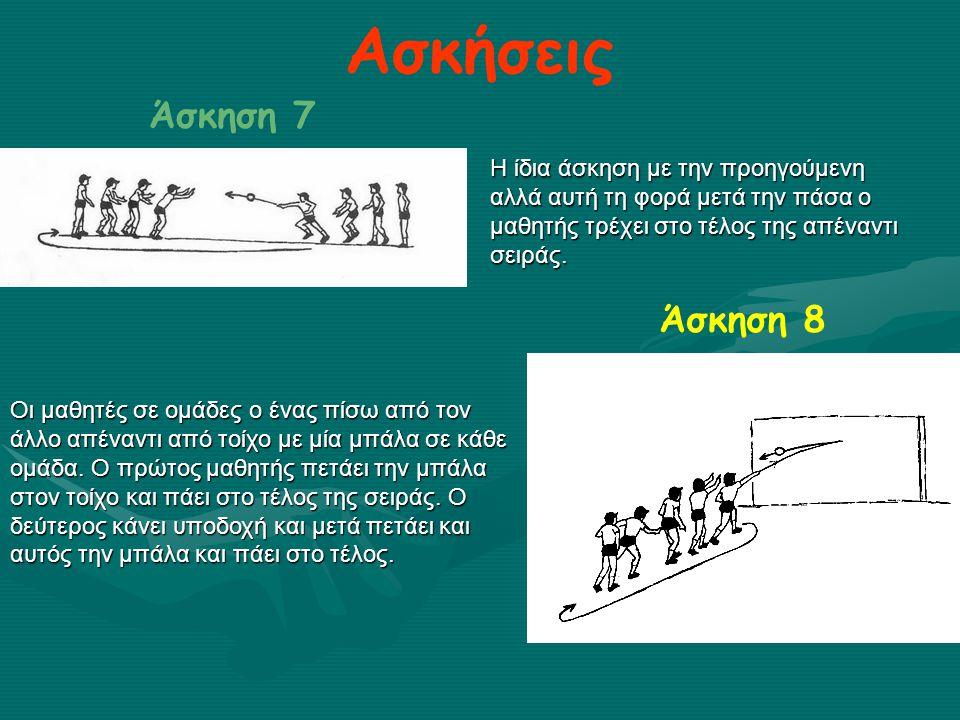 Ασκήσεις Άσκηση 7 Η ίδια άσκηση με την προηγούμενη αλλά αυτή τη φορά μετά την πάσα ο μαθητής τρέχει στο τέλος της απέναντι σειράς. Άσκηση 8 Οι μαθητές