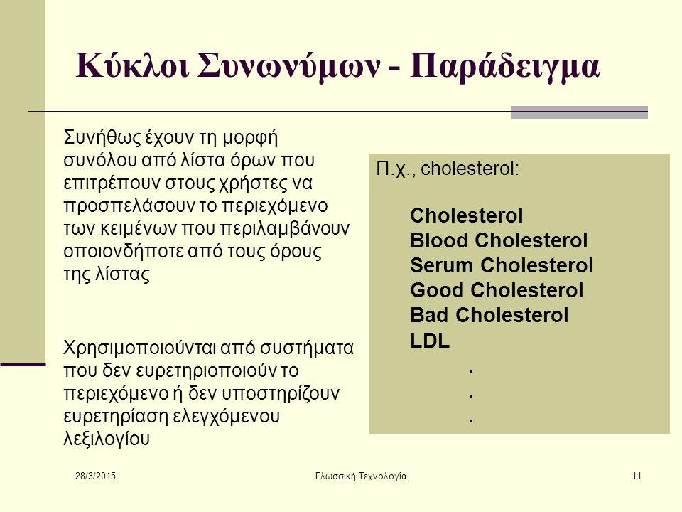 28/3/2015 Γλωσσική Τεχνολογία11 Κύκλοι Συνωνύμων - Παράδειγμα Συνήθως έχουν τη μορφή συνόλου από λίστα όρων που επιτρέπουν στους χρήστες να προσπελάσουν το περιεχόμενο των κειμένων που περιλαμβάνουν οποιονδήποτε από τους όρους της λίστας Π.χ., cholesterol: Cholesterol Blood Cholesterol Serum Cholesterol Good Cholesterol Bad Cholesterol LDL.