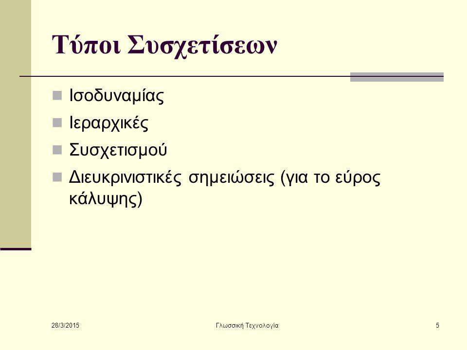 28/3/2015 Γλωσσική Τεχνολογία5 Τύποι Συσχετίσεων Ισοδυναμίας Ιεραρχικές Συσχετισμού Διευκρινιστικές σημειώσεις (για το εύρος κάλυψης)