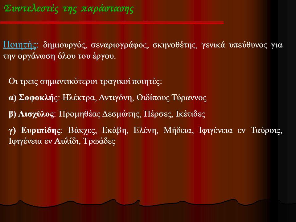 Συντελεστές της παράστασης Υποκριτές (ηθοποιοί ): Αρχικά ήταν ένας, ο Αισχύλος τους έκανε δύο και ο Σοφοκλής τρεις.
