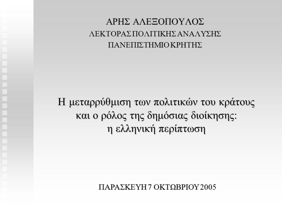 Η δυνατότητα γραφειοκρατικής διολίσθησης στη φάση της υλοποίησης Η δυνατότητα γραφειοκρατικής διολίσθησης στη φάση της υλοποίησης Είναι συνάρτηση: Της αδιαφορίας του εντολέα-κυβέρνησης για την υλοποίηση της μεταρρύθμισης Του (υψηλού) κόστους πληροφόρησης Του χρόνου που απαιτείται για την υλοποίηση Της δυνατότητας συγκρότησης συμμαχιών ανάμεσα στη διοίκηση και σε νέους ή παλαιούς δρώντες με διαφοροποιημένες προτιμήσεις πολιτικής από αυτές της κυβέρνησης