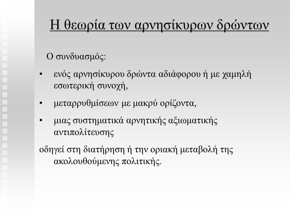 Η θεωρία των αρνησίκυρων δρώντων Ο συνδυασμός: ενός αρνησίκυρου δρώντα αδιάφορου ή με χαμηλή εσωτερική συνοχή, μεταρρυθμίσεων με μακρύ ορίζοντα, μιας
