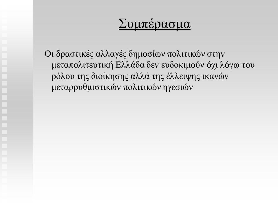 Συμπέρασμα Συμπέρασμα Οι δραστικές αλλαγές δημοσίων πολιτικών στην μεταπολιτευτική Ελλάδα δεν ευδοκιμούν όχι λόγω του ρόλου της διοίκησης αλλά της έλλ