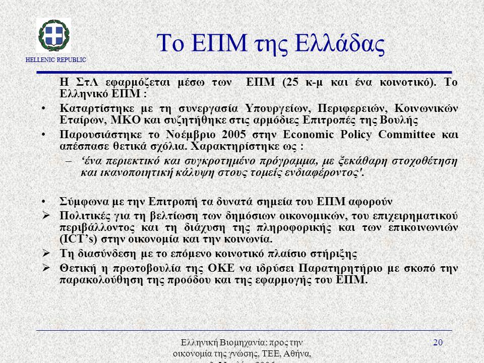 HELLENIC REPUBLIC Ελληνική Βιομηχανία: προς την οικονομία της γνώσης, ΤΕΕ, Αθήνα, 3-5 Ιουλίου 2006 20 Το ΕΠΜ της Ελλάδας Η ΣτΛ εφαρμόζεται μέσω των ΕΠΜ (25 κ-μ και ένα κοινοτικό).