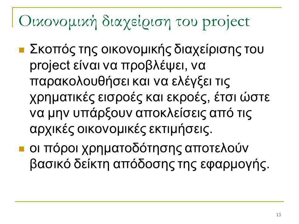 15 Οικονομική διαχείριση του project Σκοπός της οικονομικής διαχείρισης του project είναι να προβλέψει, να παρακολουθήσει και να ελέγξει τις χρηματικές εισροές και εκροές, έτσι ώστε να μην υπάρξουν αποκλείσεις από τις αρχικές οικονομικές εκτιμήσεις.