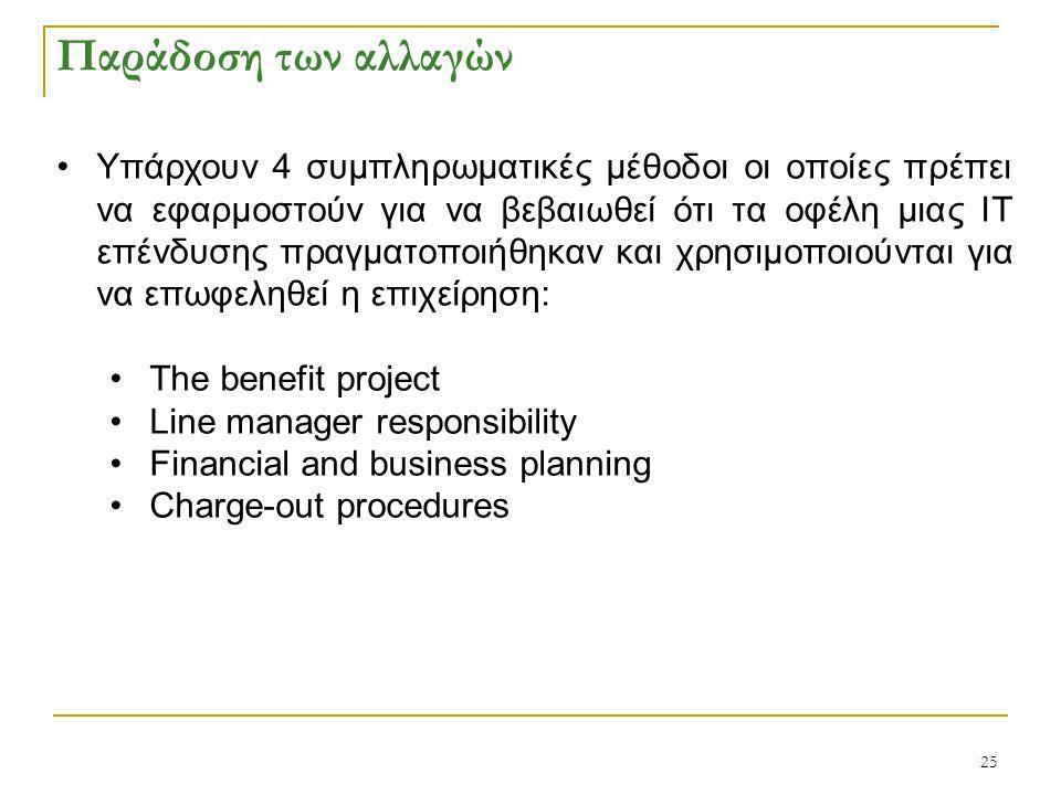 25 Παράδοση των αλλαγών Υπάρχουν 4 συμπληρωματικές μέθοδοι οι οποίες πρέπει να εφαρμοστούν για να βεβαιωθεί ότι τα οφέλη μιας ΙΤ επένδυσης πραγματοποιήθηκαν και χρησιμοποιούνται για να επωφεληθεί η επιχείρηση: The benefit project Line manager responsibility Financial and business planning Charge-out procedures