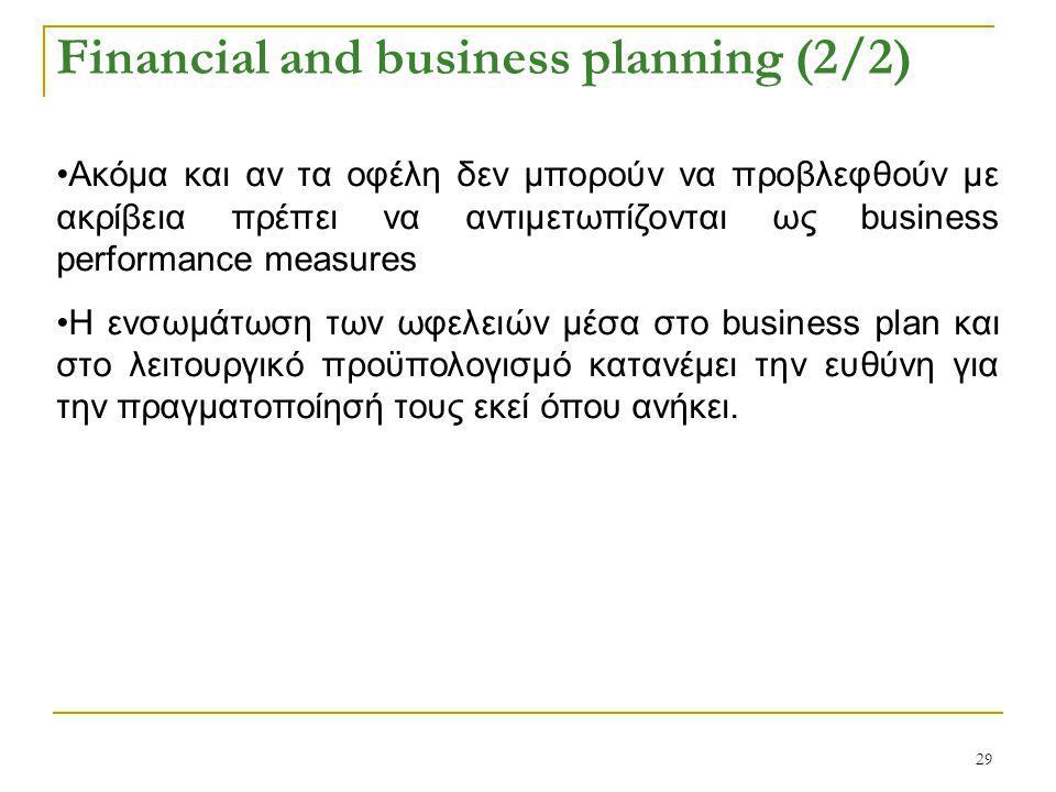 29 Financial and business planning (2/2) Ακόμα και αν τα οφέλη δεν μπορούν να προβλεφθούν με ακρίβεια πρέπει να αντιμετωπίζονται ως business performance measures H ενσωμάτωση των ωφελειών μέσα στο business plan και στο λειτουργικό προϋπολογισμό κατανέμει την ευθύνη για την πραγματοποίησή τους εκεί όπου ανήκει.