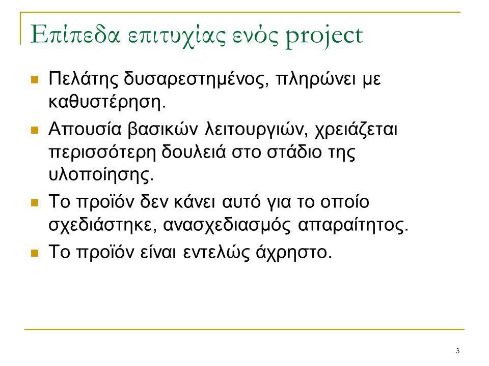 14 Κανόνες επιτυχίας ενός project Απαραίτητες ενέργειες έτσι ώστε το τελικό προϊόν να παραδοθεί στον τελικό χρήστη χωρίς ατέλειες.