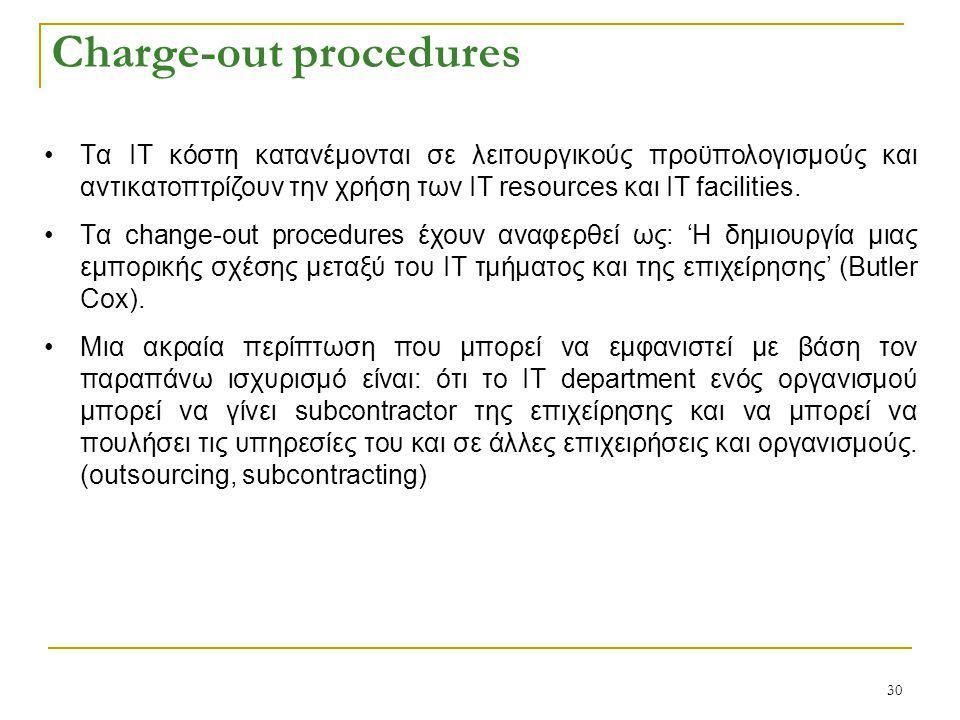 30 Charge-out procedures Tα ΙΤ κόστη κατανέμονται σε λειτουργικούς προϋπολογισμούς και αντικατοπτρίζουν την χρήση των ΙΤ resources και ΙΤ facilities.
