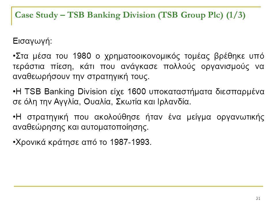 31 Case Study – TSB Banking Division (TSB Group Plc) (1/3) Εισαγωγή: Στα μέσα του 1980 ο χρηματοοικονομικός τομέας βρέθηκε υπό τεράστια πίεση, κάτι που ανάγκασε πολλούς οργανισμούς να αναθεωρήσουν την στρατηγική τους.