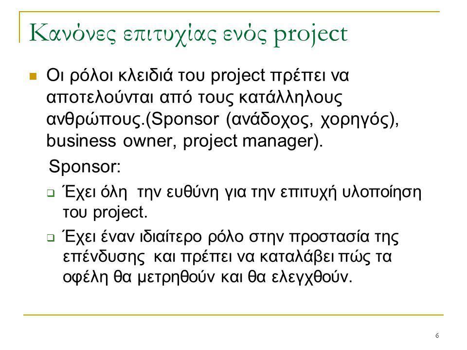 6 Κανόνες επιτυχίας ενός project Οι ρόλοι κλειδιά του project πρέπει να αποτελούνται από τους κατάλληλους ανθρώπους.(Sponsor (ανάδοχος, χορηγός), busi