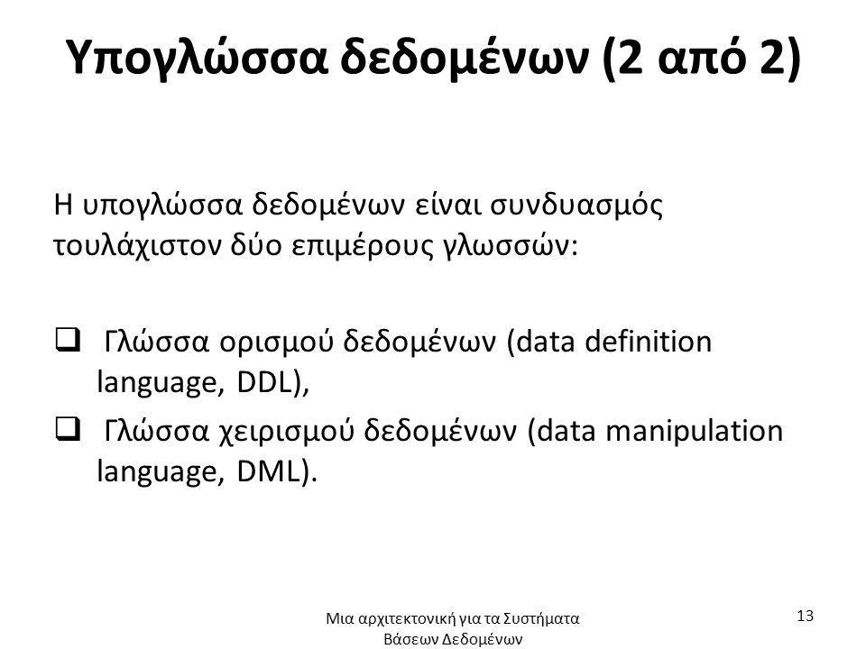 Υπογλώσσα δεδομένων (2 από 2) Η υπογλώσσα δεδομένων είναι συνδυασμός τουλάχιστον δύο επιμέρους γλωσσών:  Γλώσσα ορισμού δεδομένων (data definition la