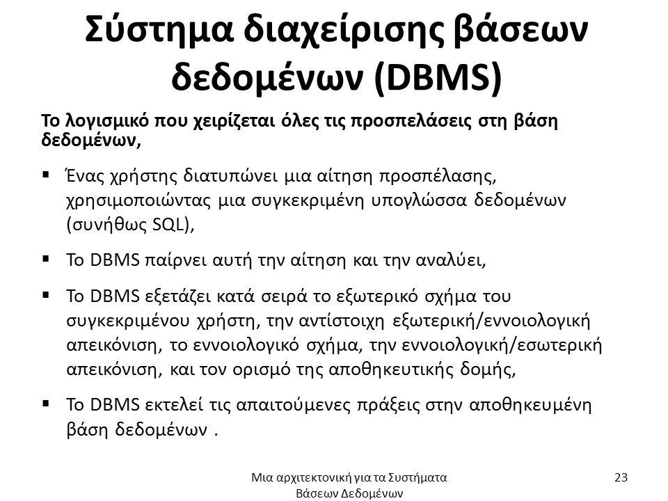 Σύστημα διαχείρισης βάσεων δεδομένων (DBMS) Το λογισμικό που χειρίζεται όλες τις προσπελάσεις στη βάση δεδομένων,  Ένας χρήστης διατυπώνει μια αίτηση