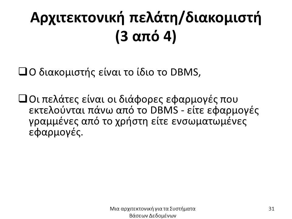 Αρχιτεκτονική πελάτη/διακομιστή (3 από 4)  Ο διακομιστής είναι το ίδιο το DBMS,  Οι πελάτες είναι οι διάφορες εφαρμογές που εκτελούνται πάνω από το