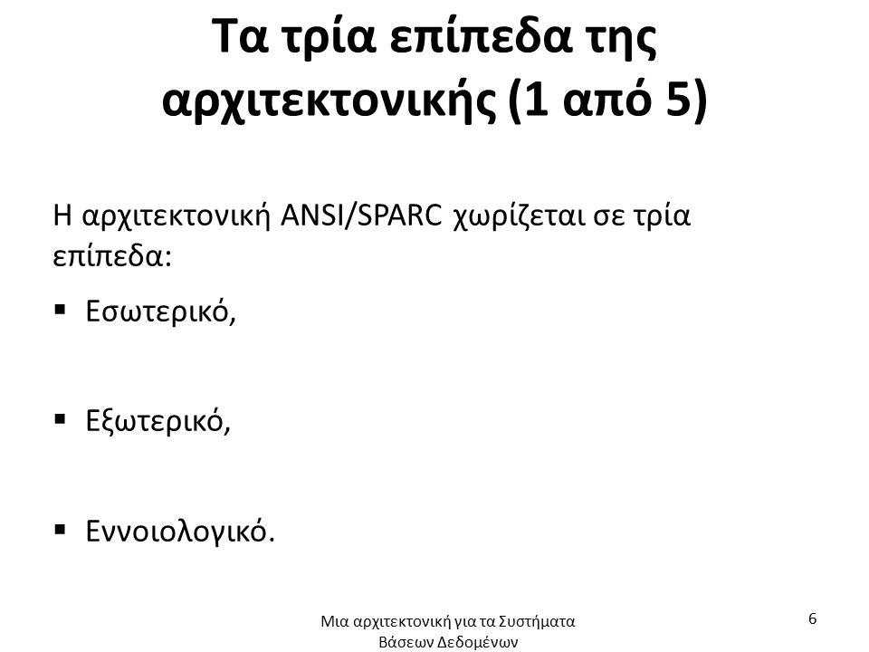 Τα τρία επίπεδα της αρχιτεκτονικής (1 από 5) Η αρχιτεκτονική ANSI/SPARC χωρίζεται σε τρία επίπεδα:  Εσωτερικό,  Εξωτερικό,  Εννοιολογικό. Μια αρχιτ