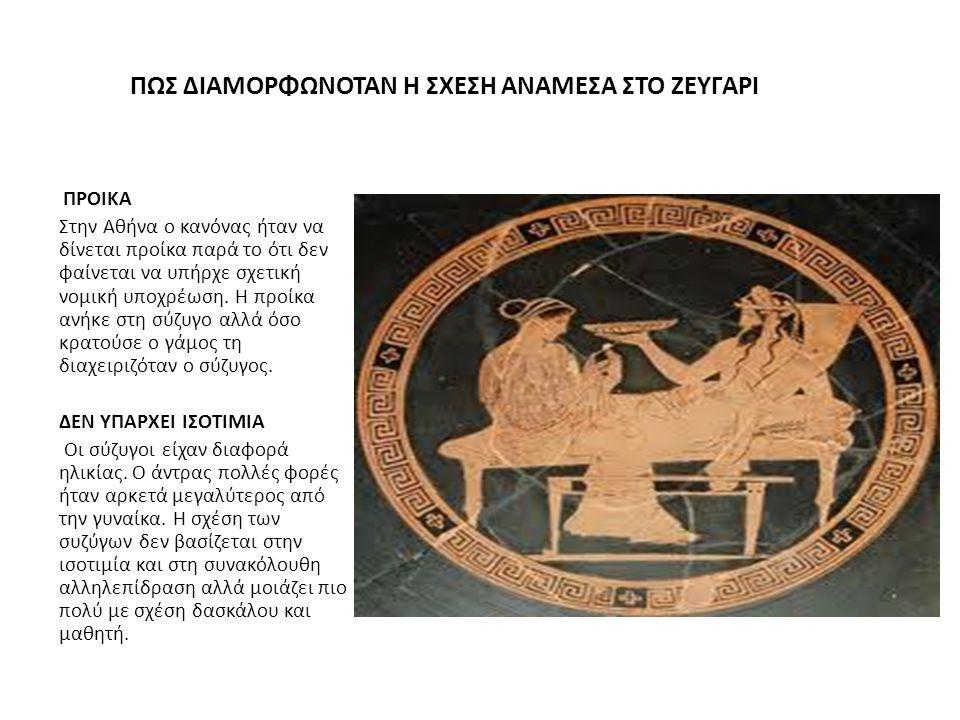 ΠΩΣ ΔΙΑΜΟΡΦΩΝΟΤΑΝ Η ΣΧΕΣΗ ΑΝΑΜΕΣΑ ΣΤΟ ΖΕΥΓΑΡΙ ΠΡΟΙΚΑ Στην Αθήνα ο κανόνας ήταν να δίνεται προίκα παρά το ότι δεν φαίνεται να υπήρχε σχετική νομική υπο