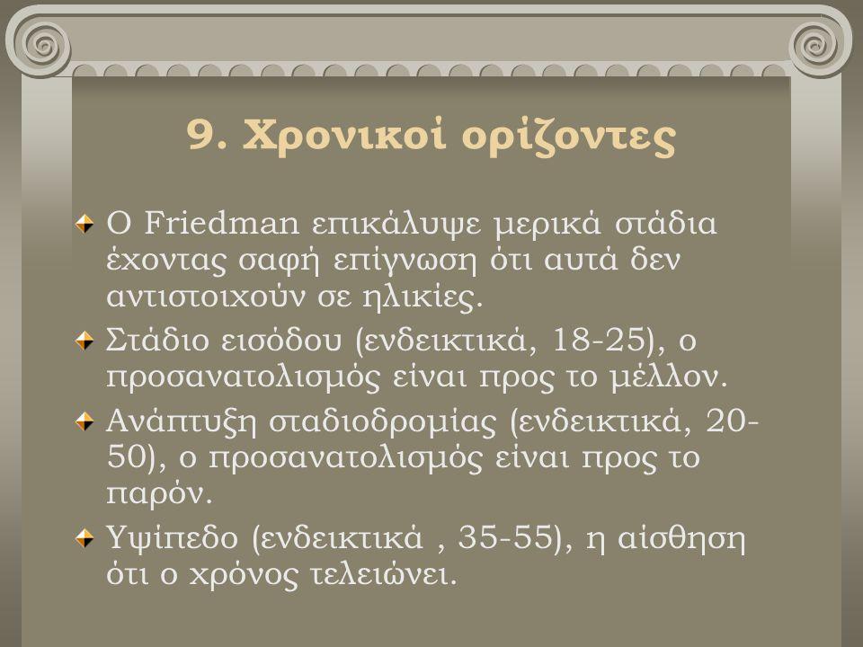 9. Χρονικοί ορίζοντες Ο Friedman επικάλυψε μερικά στάδια έχοντας σαφή επίγνωση ότι αυτά δεν αντιστοιχούν σε ηλικίες. Στάδιο εισόδου (ενδεικτικά, 18-25
