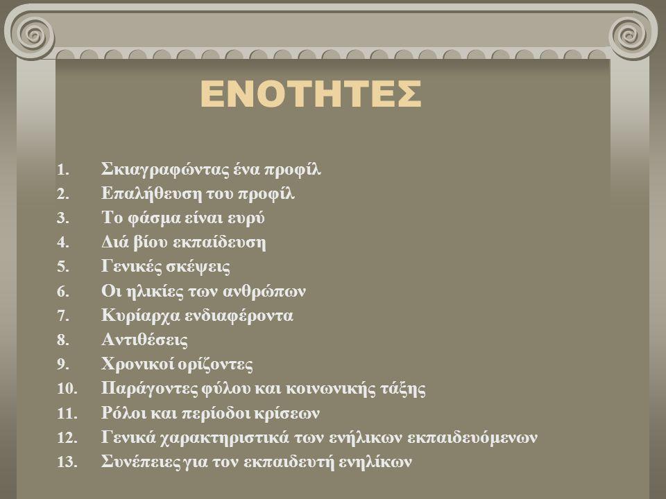 ΕΝΟΤΗΤΕΣ 1. Σκιαγραφώντας ένα προφίλ 2. Επαλήθευση του προφίλ 3. Το φάσμα είναι ευρύ 4. Διά βίου εκπαίδευση 5. Γενικές σκέψεις 6. Οι ηλικίες των ανθρώ