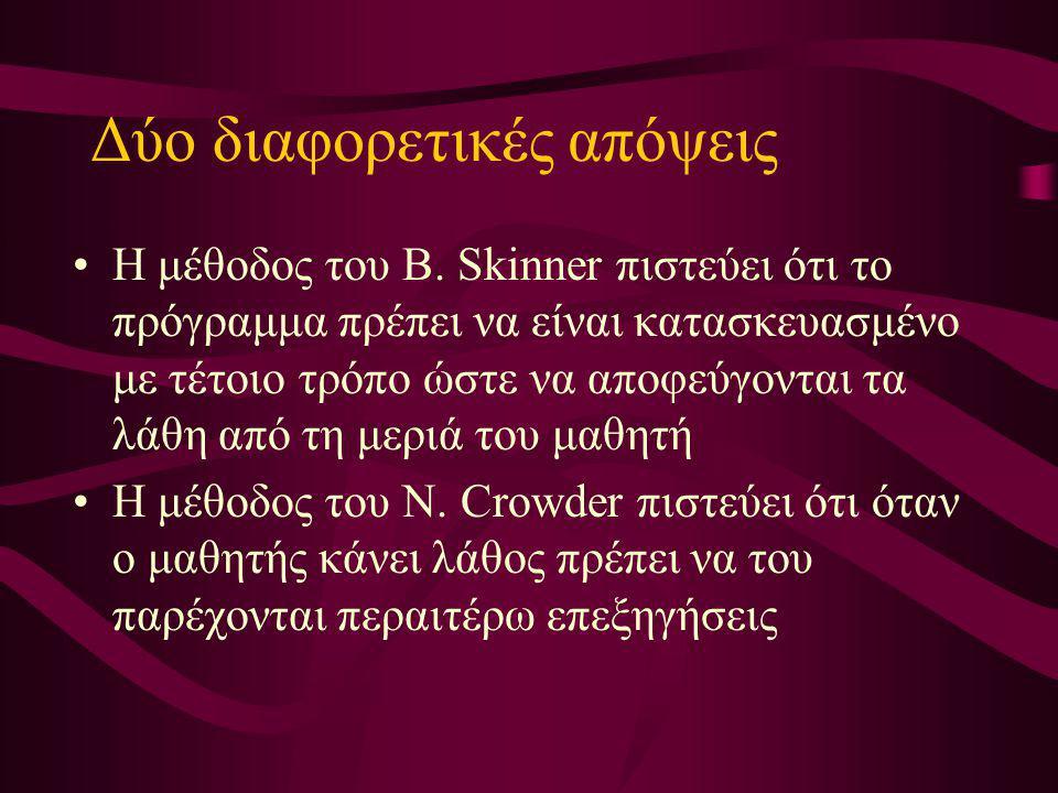 Δύο διαφορετικές απόψεις Η μέθοδος του B. Skinner πιστεύει ότι το πρόγραμμα πρέπει να είναι κατασκευασμένο με τέτοιο τρόπο ώστε να αποφεύγονται τα λάθ