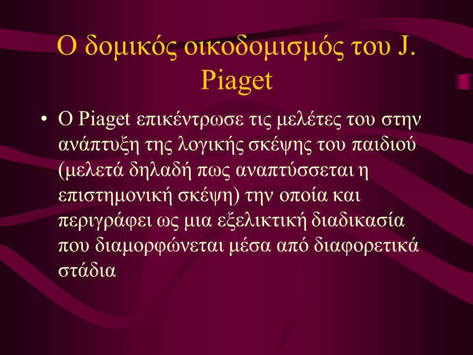 Ο δομικός οικοδομισμός του J. Piaget Ο Piaget επικέντρωσε τις μελέτες του στην ανάπτυξη της λογικής σκέψης του παιδιού (μελετά δηλαδή πως αναπτύσσεται