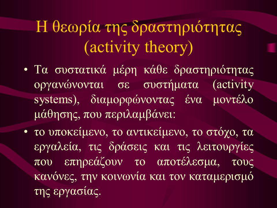 Η θεωρία της δραστηριότητας (activity theory) Τα συστατικά μέρη κάθε δραστηριότητας οργανώνονται σε συστήματα (activity systems), διαμορφώνοντας ένα μ