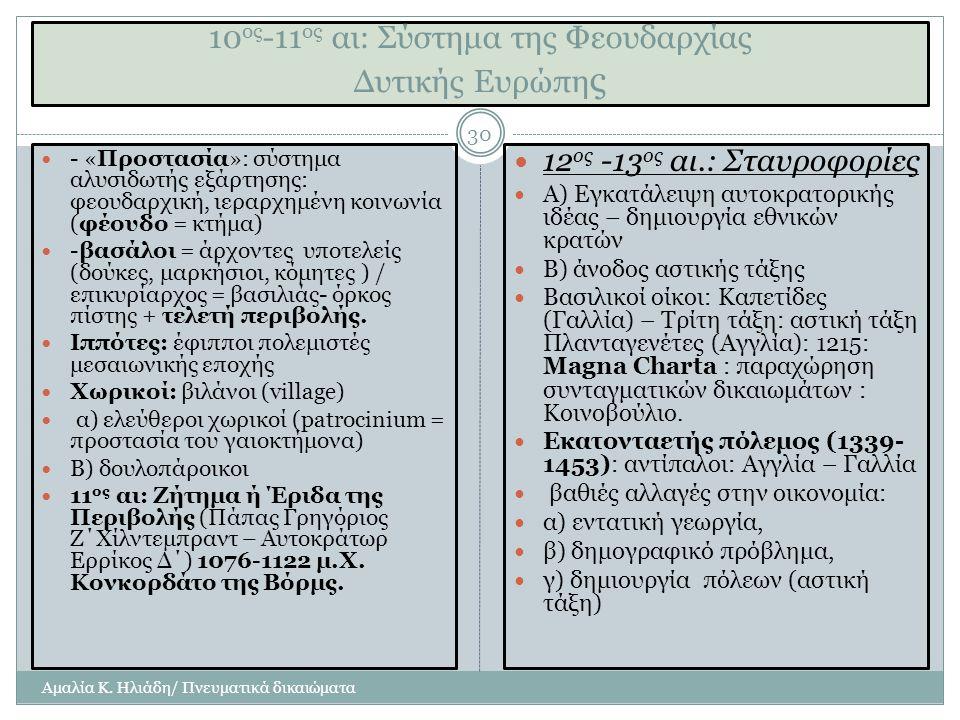 10 ος -11 ος αι: Σύστημα της Φεουδαρχίας Δυτικής Ευρώπη ς Αμαλία Κ.