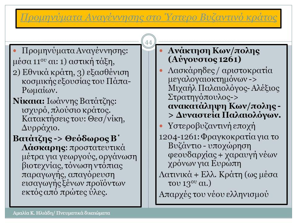 Προμηνύματα Αναγέννησης στο Ύστερο Βυζαντινό κράτος Αμαλία Κ.
