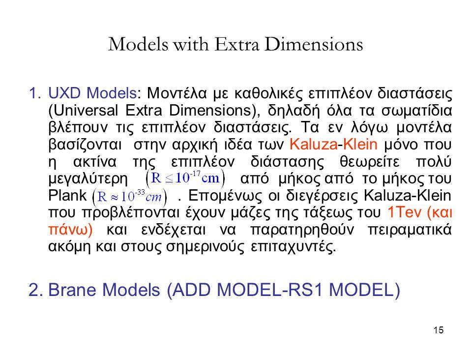 15 1.UXD Models: Μοντέλα με καθολικές επιπλέον διαστάσεις (Universal Extra Dimensions), δηλαδή όλα τα σωματίδια βλέπουν τις επιπλέον διαστάσεις. Τα εν